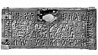 0075330 © Granger - Historical Picture ArchiveFRANKS CASKET, c700 A.D.   Panel of the Franks Casket, with scenes of the Adoration of the Magi and Wayland the Smith surrounded by runic inscription. Whalebone, Anglo-Saxon, c700 A.D.