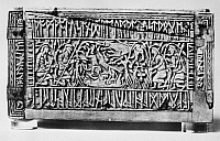 0075334 © Granger - Historical Picture ArchiveFRANKS CASKET, 700 A.D.   Left side of the Franks Casket, with a scene showing Romulus and Remus nursed by the she-wolf, surrounded by runic inscriptions. Whalebone, Anglo-Saxon, c700 A.D.
