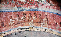 0075340 © Granger - Historical Picture ArchiveBREAKING OF BREAD.   Fractio panis (the Breaking of Bread), late 2nd century. Wall painting in the so-called 'Greek Chapel' of the Catacomb of Priscilla, Rome, Italy.