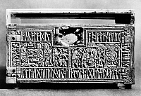 0075342 © Granger - Historical Picture ArchiveFRANKS CASKET, 700 A.D.   Panel of the Franks Casket, with scenes of the Adoration of the Magi and Wayland the smith surrounded by runic inscription. Whalebone, Anglo-Saxon, c700 A.D.