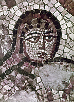 0124332 © Granger - Historical Picture ArchiveEARLY CHRISTIAN MOSAIC.   Mosaic of the head of October. Detail from the panel depicting the Labors of the Months, in the Monastery of Lady Mary, Beth-Shean, Israel, c567 A.D.
