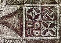 0124334 © Granger - Historical Picture ArchiveEARLY CHRISTIAN MOSAIC.   Mosaic with geometric patterns. Detail from the pavement of a church at Shavey Zion, Israel, 5th century A.D.