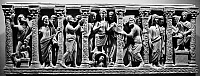 0124339 © Granger - Historical Picture ArchiveEARLY CHRISTIAN RELIEF.   Jesus (center) with figures from the Old and New Testament. Relief sculpture from a Roman sarcophagus, 4th century A.D.