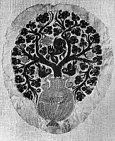 0125753 © Granger - Historical Picture ArchiveCOPTIC TEXTILE FRAGMENT.   Vine growing in an urn, possibly meant to represent the tree of life. Coptic textile fragment, wool and linen, c400 A.D.
