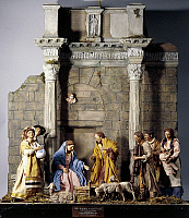 0363171 © Granger - Historical Picture ArchiveDECORATIVE ARTS.   Nativity, nativity scene set at the Forum of Nerva or Colonnacce in Rome, with Neapolitan figurines from the 18th century, sketch by Mario de Carlo, Italy.Full credit: De Agostini / S. Vannini / Granger, NYC -- All rights