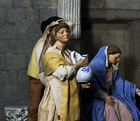 0363174 © Granger - Historical Picture ArchiveDECORATIVE ARTS.   Woman with jug, nativity scene set at the Forum of Nerva or Colonnacce in Rome, with Neapolitan figurines from the 18th century, sketch by Mario de Carlo, Italy.Full credit: De Agostini / S. Vannini / Granger, NYC -- All Rights Reserved.