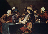 0367352 © Granger - Historical Picture ArchiveFINE ART.   Card Players, by Theodor Rombouts (1597-1637), oil on canvas. Flanders, 17th century. Full Credit: De Agostini Picture Library / Granger, NYC -- All rights reserved.