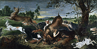 0367388 © Granger - Historical Picture ArchiveFINE ART.   Hunting deer, by Frans Snyders (1579-1657), oil on canvas, 220x420 cm. Full Credit: De Agostini Picture Library / Granger, NYC -- All rights reserved.
