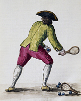 0367495 © Granger - Historical Picture ArchiveFINE ART.   Man playing with a racquet and balls, illustration by Jan van Grevenbroeck (1731-1807) from The dress of the Venetians manuscript. Italy, 18th century. Full Credit: De Agostini Picture Library / Granger, NYC -- All rights reserv