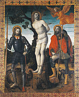 0367521 © Granger - Historical Picture ArchiveFINE ART.   St Sebastian, St Rocco and St Giorgio, reverse side of the processional banner of Orzinuovi, by Vincenzo Foppa (ca1427 - ca1515), painting on canvas. Full Credit: De Agostini / A. Dagli Orti / Granger, NYC -- All rights reserved