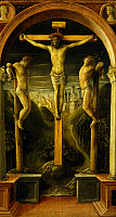 0367775 © Granger - Historical Picture ArchiveFINE ART.   The Three Crosses, 1456, by Vincenzo Foppa (ca 1427 - ca 1515), tempera on panel. Full Credit: De Agostini Picture Library / Granger, NYC -- All rights reserved.