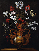 0367864 © Granger - Historical Picture ArchiveFINE ART.   Vase of flowers with the coat of arms of Cardinal Poli, by Giacomo Recco (1603-1653), painting. Full Credit: De Agostini / A. Dagli Orti / Granger, NYC -- All rights re
