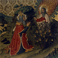 0367988 © Granger - Historical Picture ArchiveFINE ART.   Moses and the burning bush, painting by Jaime Huguet (1414-1492), the cathedral of Tortosa, Spain. Full Credit: De Agostini Picture Library / Granger, NYC -- All rights
