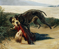 0368367 © Granger - Historical Picture ArchiveFINE ART.   Mastiff saving a child from the waters of the Arno, ca 1867, by Carlo Ademollo (1825-1911). Italy, 19th century. Full Credit: De Agostini / N. Grifoni / Granger, NYC -- All Rights Reserved.