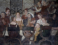 0368391 © Granger - Historical Picture ArchiveFINE ART.   Banquet offered by Bartolomeo Colleoni to Christian of Denmark, 16th century fresco attributed to Marcello Fogolino, Baronial Hall of the Castle of Malpaga, Cavernago, Bergamo, Italy. Detail. Full Credit: De Agostini / A. Dagli Orti / Granger, NYC -- All rights reserved.