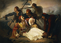 0368412 © Granger - Historical Picture ArchiveFINE ART.   Death of Marco Botzaris, by Ludovico Lipparini (1800-1856), painting. Full Credit: De Agostini / A. Dagli Orti / Granger, NYC -- All rights reserved.