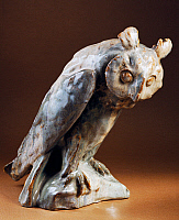 0422792 © Granger - Historical Picture ArchiveDECORATIVE ARTS.   Fauvism style statuette of an owl, 1905, majolica, by Andre' Metthey (1871-1920), Asnieres manufacture, France, 20th century. Full credit: De Agostini / G. Dagli Orti / Granger, NYC -- All Rights Reserved.