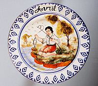 0422811 © Granger - Historical Picture ArchiveDECORATIVE ARTS.   Plate depicting months, April, earthenware, Nove di Bassano manufacture, Veneto region, Italy, 20th century. Full credit: De Agostini / A. Dagli Orti / Granger, NYC -- All Rights Reserved.