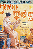 0422863 © Granger - Historical Picture ArchiveDECORATIVE ARTS.   Advertising postcard for opening of Jmf Jerome Massier Fils store in Mont-Baron, France, 20th century Full credit: De Agostini / G. Dagli Orti / Granger, NYC -- All Rights Reserved.