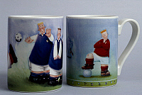 0422891 © Granger - Historical Picture ArchiveDECORATIVE ARTS.   Sports mugs, football, Rob Scotton series, ceramic, Portmeirion Potteries manufacture, Stoke-on-Trent, England, 20th century. Full credit: De Agostini / S. Vannini / Granger, NYC -- All Rights Reserved.