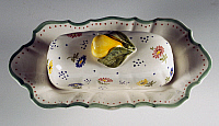 0423032 © Granger - Historical Picture ArchiveDECORATIVE ARTS.   Butter dish decorated with flowers and applied fruit handle (20th century),L'Ancora manufacture, Nome di Bassano, Veneto, Italy Full credit: De Agostini / A. Dagli Orti / Granger, NYC -- All Rights Reserved.