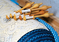 0423059 © Granger - Historical Picture ArchiveDECORATIVE ARTS.   Bobbins of thread used for handcrafting process for bobbin lace-making in Predoi, Aurina (Ahr) Valley, Trentino-Alto Adige, Italy, Detail Full credit: De Agostini / M. Santini / Granger, NYC -- All Rights Reserved.