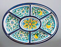 0423138 © Granger - Historical Picture ArchiveDECORATIVE ARTS.   Modular hors d'oeuvre tray decorated with lemons and flowers, ceramic, 20th century Full credit: De Agostini / A. Dagli Orti / Granger, NYC -- All Rights Reserved.