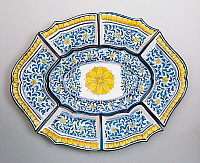 0423140 © Granger - Historical Picture ArchiveDECORATIVE ARTS.   Modular hors d'oeuvre tray decorated with leaves in 17th century Caltagirone style, ceramic, 20th century Full credit: De Agostini / A. Dagli Orti / Granger, NYC -- All Rights Reserved.