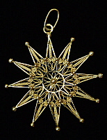 0423163 © Granger - Historical Picture ArchiveDECORATIVE ARTS.   Gold pendant with handcrafting process for filigree, Pescocostanzo, Abruzzo, Italy Full credit: De Agostini / S. Vannini / Granger, NYC -- All Rights Reserved.