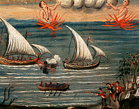 0423370 © Granger - Historical Picture ArchiveDECORATIVE ARTS.   Ex-voto depicting pirate raid along Tyrrhenian coast, Sanctuary of Madonna dell'Arco, St Anastasia, Campania, Italy, 18th century Full credit: De Agostini Picture Library / Granger, NYC -- All Rights Reserved.