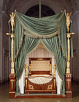 0423457 © Granger - Historical Picture ArchiveDECORATIVE ARTS.   Empire style Florentine mahogany bed with chiseled bronze sculptures, 1820, Italy, 19th century Full credit: De Agostini / G. Nimatallah / Granger, NYC -- All Rights Reserved.