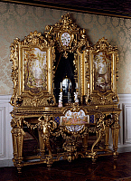 0423537 © Granger - Historical Picture ArchiveDECORATIVE ARTS.   Dressing table in carved and gilt wood by Jules Fossey, with porcelain plaques painted by PM Roussel and the monogram of the Empress Eugenie, wife of Napoleon III, presented at the Paris Exposition of 1855, France, 19th century Full credit: De Agostini Picture Library / Granger, NYC -- All Rights Reserved.