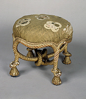 0423541 © Granger - Historical Picture ArchiveDECORATIVE ARTS.   Pouf with legs in the shape of knotted cords, France, 19th century Full credit: De Agostini Picture Library / Granger, NYC -- All Rights Reserved.