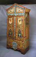 0423615 © Granger - Historical Picture ArchiveDECORATIVE ARTS.   Tyrolean wardrobe with vibrant and unsophisticated decoration, folk art, Austria, 19th century Full credit: De Agostini / G. Nimatallah / Granger, NYC -- All Rights Reserved.