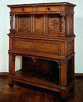 0424213 © Granger - Historical Picture ArchiveDECORATIVE ARTS.   Buffetkast (chest-credenza) in carved oak, Netherlands, end of 16th century Full credit: De Agostini Picture Library / Granger, NYC -- All Rights Reserved.