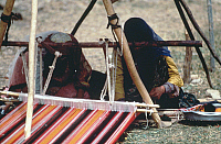 0424291 © Granger - Historical Picture ArchiveDECORATIVE ARTS.   Nomadic Qashqai people weaving carpet on horizontal loom, Fars province, Iran Full credit: De Agostini Picture Library / Granger, NYC -- All Rights Reserved.