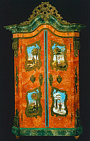 0424322 © Granger - Historical Picture ArchiveDECORATIVE ARTS.   Wardrobe with two painted doors, folk art, Germany, 19th century Full credit: De Agostini Picture Library / Granger, NYC -- All Rights Reserved.