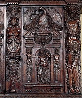 0424441 © Granger - Historical Picture ArchiveDECORATIVE ARTS.   Decoration on carved walnut sideboard, designed by Hugues Sambin (ca 1520-1601), France, 16th century, Detail Full credit: De Agostini Picture Library / Granger, NYC -- All Rights Reserved.