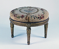 0424869 © Granger - Historical Picture ArchiveDECORATIVE ARTS.   Gilt wood pouf with d'Aubusson upholstery, France, 19th century Full credit: De Agostini / A. C. Cooper / Granger, NYC -- All Rights Reserved.
