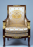 0425024 © Granger - Historical Picture ArchiveDECORATIVE ARTS.   Empire style solid mahogany bergere with chiseled and gilt bronze decoration, stamped Jacob Freres, part of living room furniture set, France, 19th century Full credit: De Agostini / J. M. Zuber / Granger, NYC -- All Rights Reserved.
