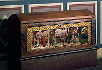 0425201 © Granger - Historical Picture ArchiveDECORATIVE ARTS.   Wooden chest decorated with scene depicting Argonauts expedition painted within band of golden lilies, ca 1400, Florentine art, Italy, 15th century Full credit: De Agostini Picture Library / Granger, NYC -- All Rights Reserved.