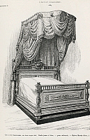 0425328 © Granger - Historical Picture ArchiveDECORATIVE ARTS.   Canopy bed, by Mercier Freres, Paris, illustration from L'art et l'industrie, 1883, Ulrico Hoepli, Milan, Italy, 19th century Full credit: De Agostini / Saporetti / Granger, NYC -- All Rights Reserved.