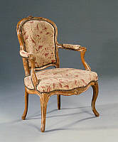 0425701 © Granger - Historical Picture ArchiveDECORATIVE ARTS.   Louis XV style fauteuil (elbow chair), France, 18th century Full credit: De Agostini Picture Library / Granger, NYC -- All Rights Reserved.
