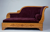 0426517 © Granger - Historical Picture ArchiveDECORATIVE ARTS.   Restoration style (Charles X) ash fainting couch with amaranth inlays, France, 19th century Full credit: De Agostini / J. M. Zuber / Granger, NYC -- All Rights Reserved.