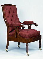 0426576 © Granger - Historical Picture ArchiveDECORATIVE ARTS.   Louis Philippe style Cuban upholstered mahogany armchair with removable seat, one of pair, France, 19th century Full credit: De Agostini / J. M. Zuber / Granger, NYC -- All Rights Reserved.