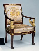 0426593 © Granger - Historical Picture ArchiveDECORATIVE ARTS.   Empire style solid mahogany armchair with chiselled and gilt bronze decoration, stamped Jacob Freres, from living room set, France, 19th century Full credit: De Agostini / J. M. Zuber / Granger, NYC -- All Rights Reserved.