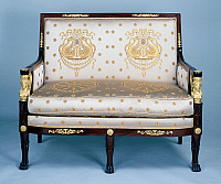 0426594 © Granger - Historical Picture ArchiveDECORATIVE ARTS.   Empire style solid mahogany marquise canape (elegant sofa) with chiselled and gilt bronze decoration, stamped Jacob Freres, from living room set, France, 19th century Full credit: De Agostini / J. M. Zuber / Granger, NYC -- All Rights Reserved.