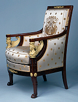 0426595 © Granger - Historical Picture ArchiveDECORATIVE ARTS.   Empire style solid mahogany bergere with chiselled and gilt bronze decoration, stamped Jacob Freres, from living room set, France, 19th century Full credit: De Agostini / J. M. Zuber / Granger, NYC -- All Rights Reserved.