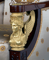 0426608 © Granger - Historical Picture ArchiveDECORATIVE ARTS.   Empire style solid mahogany bergere with chiselled and gilt bronze decoration, stamped Jacob Freres, from living room set, France, 19th century, detail Full credit: De Agostini / J. M. Zuber / Granger, NYC -- All Rights Reserved.