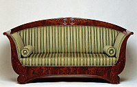 0426633 © Granger - Historical Picture ArchiveDECORATIVE ARTS.   Biedermeier style sofa with walnut veneer finish, 1815-1820, Austria, 19th century Full credit: De Agostini Picture Library / Granger, NYC -- All Rights Reserved.